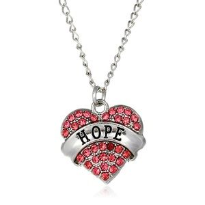 Shiny Pink Rhinestone Heart Necklace- HOPE